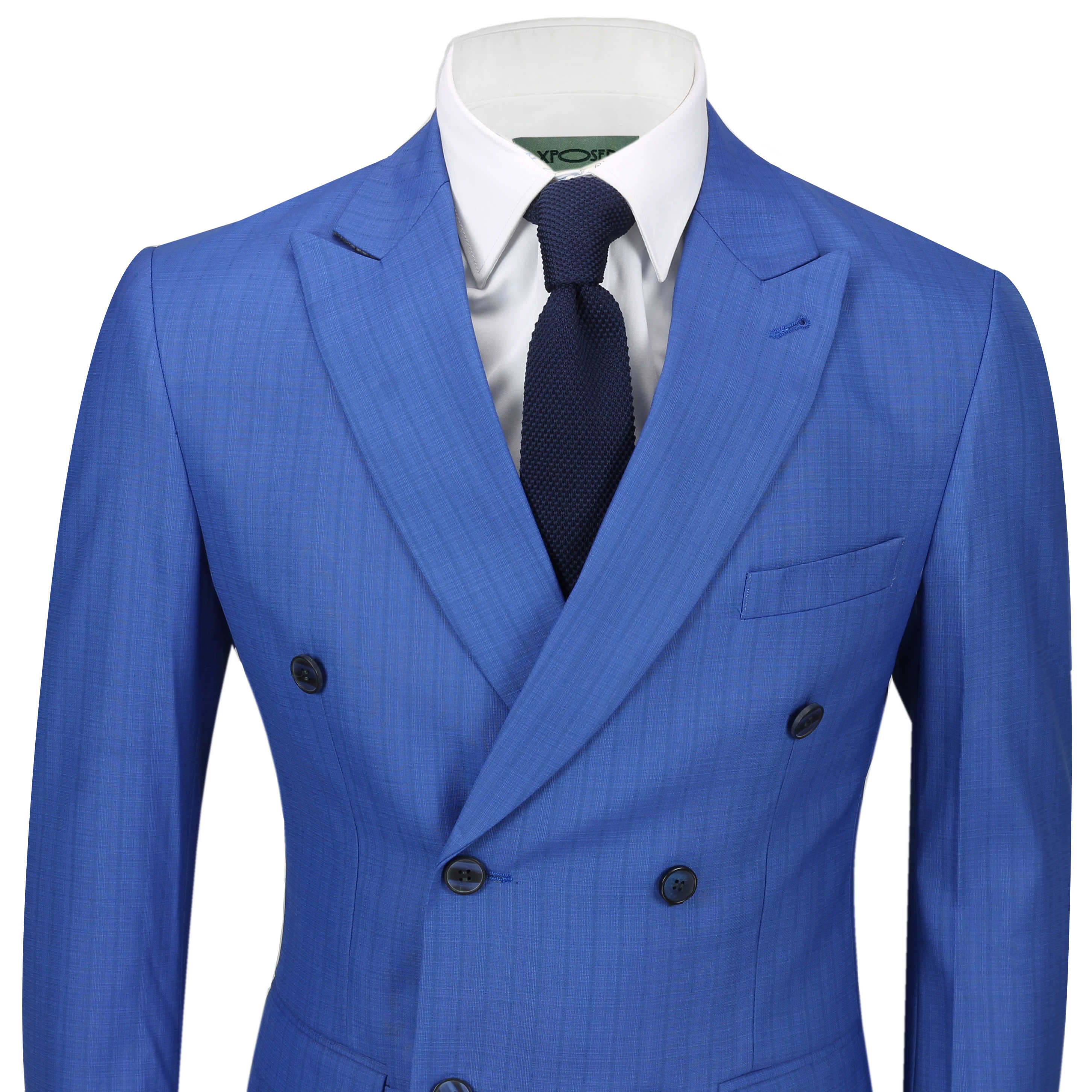 4f86ce98e97e Details about Mens 3 Piece Double Breasted Suit Retro Vintage Royal Blue  Check Tailored Fit