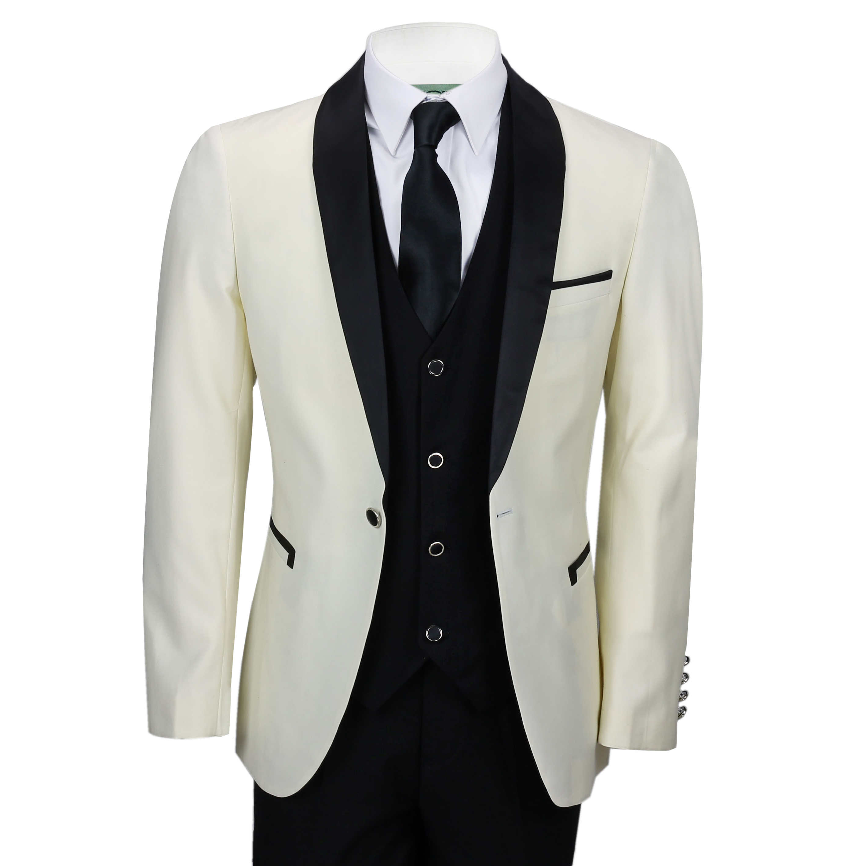 f1c544fb Details about Mens Ivory Black 3 Piece Tuxedo Suit Wedding Prom Grooms wear  Retro Tailored Fit