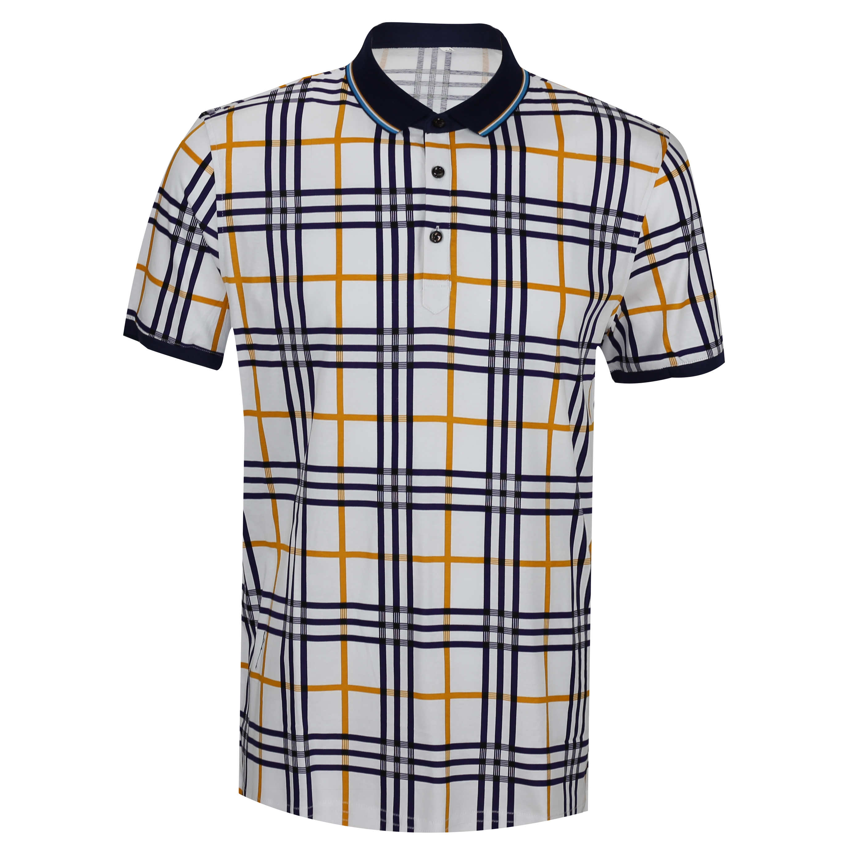 aae44d8a64d Mens Polo Neck Blue White Check Collar Button Soft Stretch T Shirt Slim Fit  Tee Top