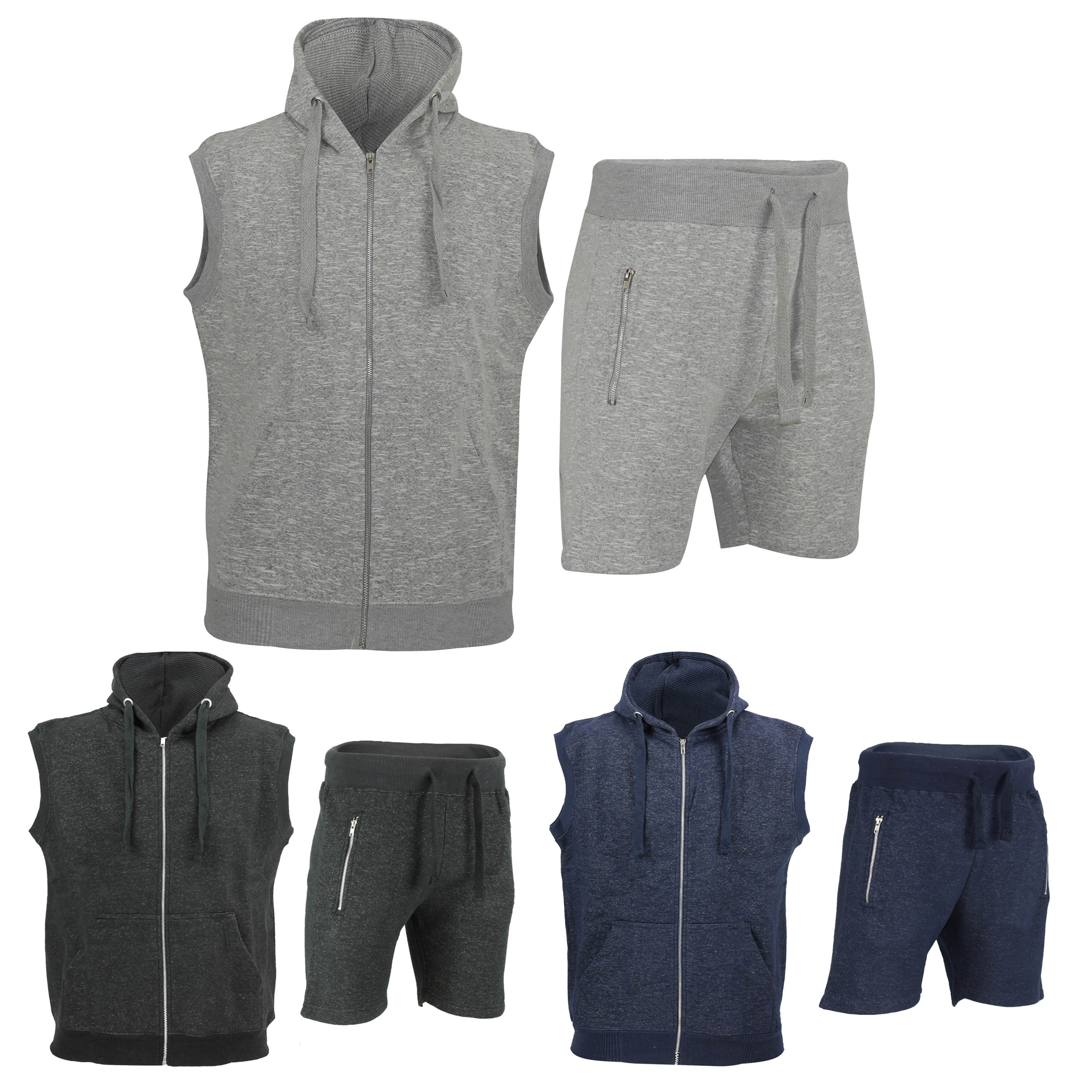 Details about Mens Tracksuit Set Sleeveless Hoodie Top   Shorts Jogging  Bottoms Summer Casual 74ab1ec88
