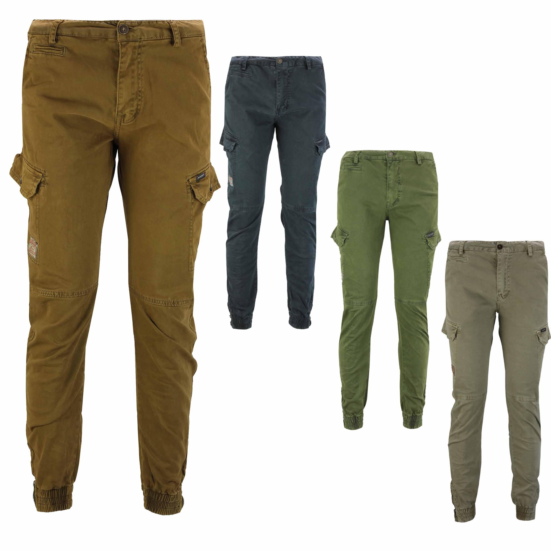 Men/'s Elastic Waist Cargo Combat Work Trousers Slim Fit Casual Slacks Cuff Pants