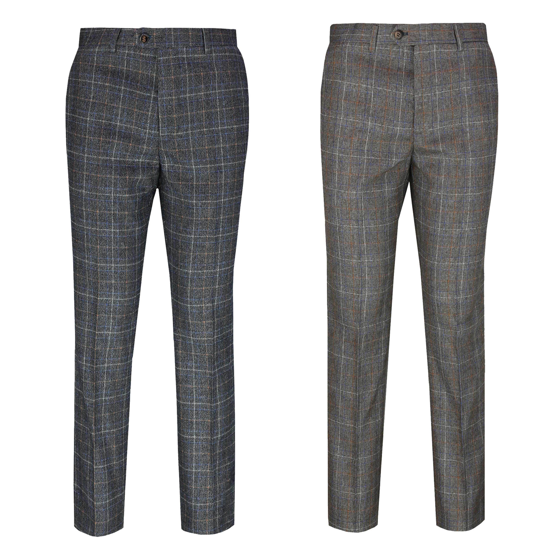 Mens Herringbone Check Trouser Vintage Tweed Tailored Fit Brown Grey Dress Pants