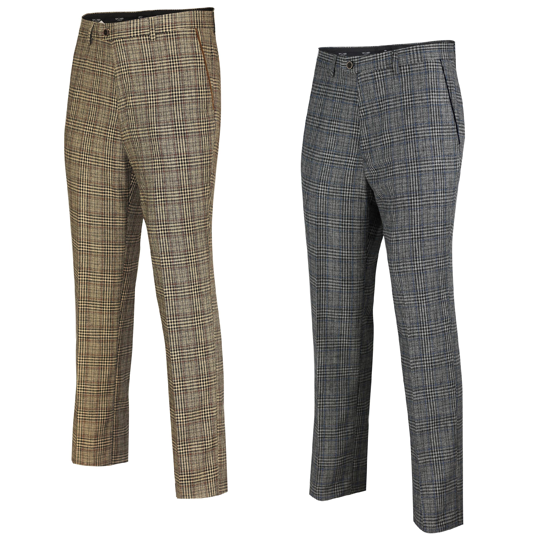 Mens Vintage Tweed Check Trouser Herringbone Tan Brown Slim Fit Regular