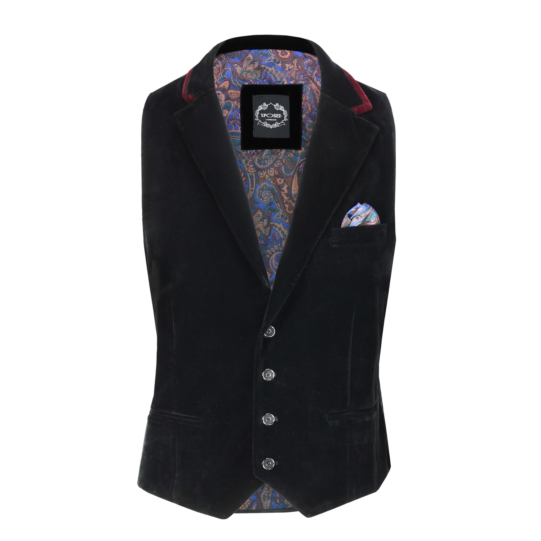 Para-hombre-negro-terciopelo-vintage-3-Piezas-Traje-Blazer-Chaleco-del-pantalon-se-vende-por miniatura 14