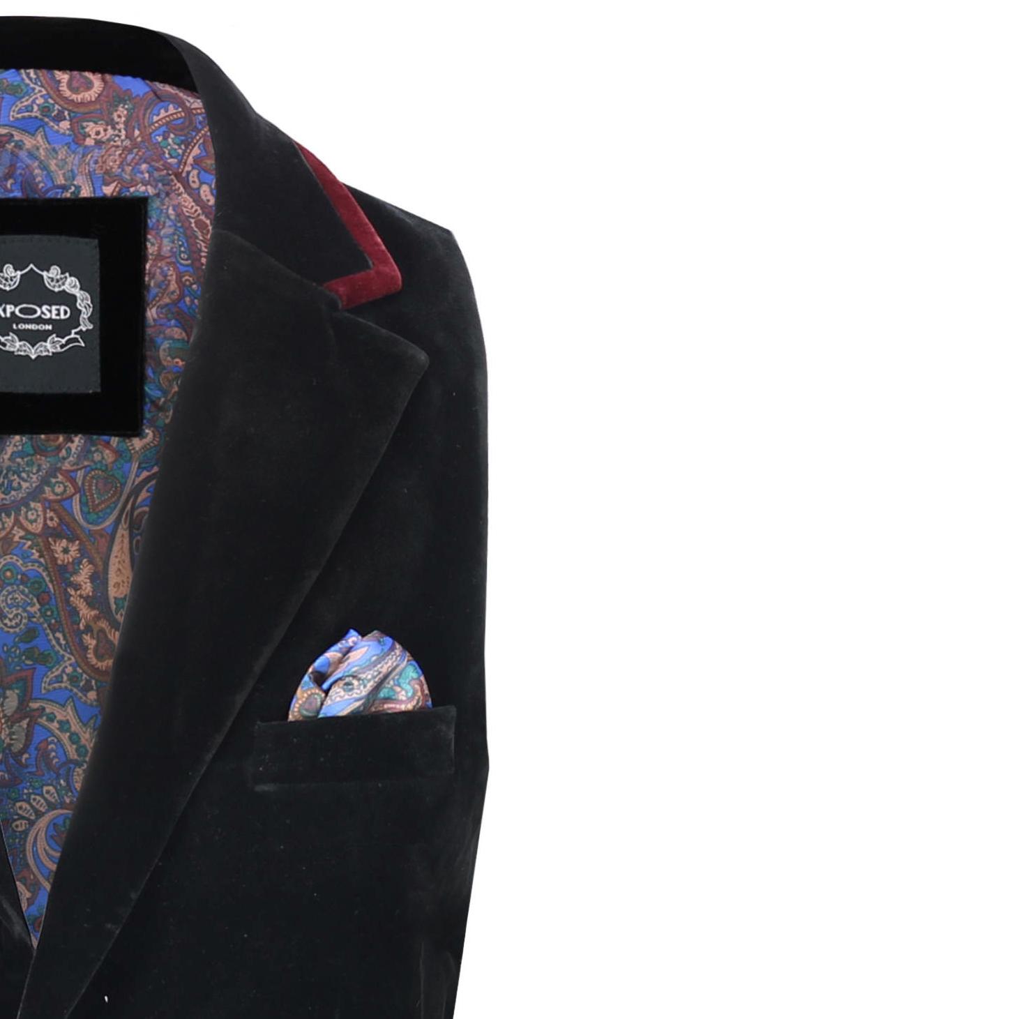 Para-hombre-negro-terciopelo-vintage-3-Piezas-Traje-Blazer-Chaleco-del-pantalon-se-vende-por miniatura 15