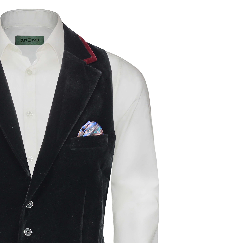Para-hombre-negro-terciopelo-vintage-3-Piezas-Traje-Blazer-Chaleco-del-pantalon-se-vende-por miniatura 16