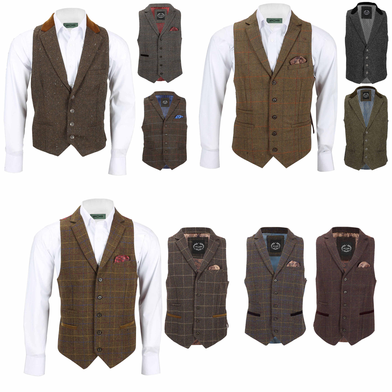 823279b9264 Details about Mens Waistcoat Tweed Wool Mix Herringbone Check Velvet Collar  Retro Vintage Vest