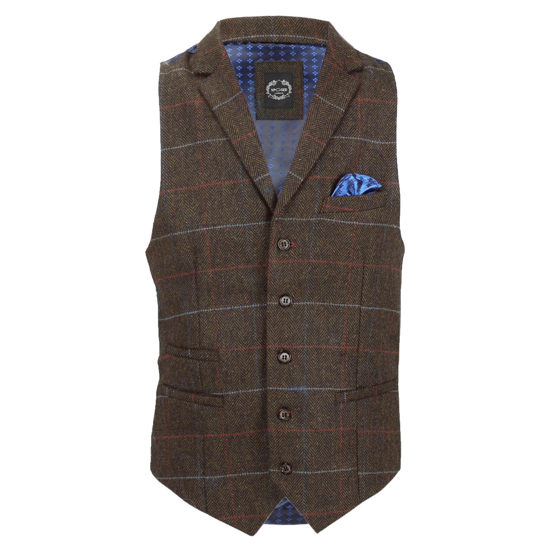 Chaleco-para-Hombre-Tweed-Cuadros-Retro-espiga-con-Cuello-Inteligente-Formal-ajustado-fitvest miniatura 7