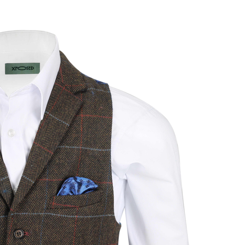 Chaleco-para-Hombre-Tweed-Cuadros-Retro-espiga-con-Cuello-Inteligente-Formal-ajustado-fitvest miniatura 8