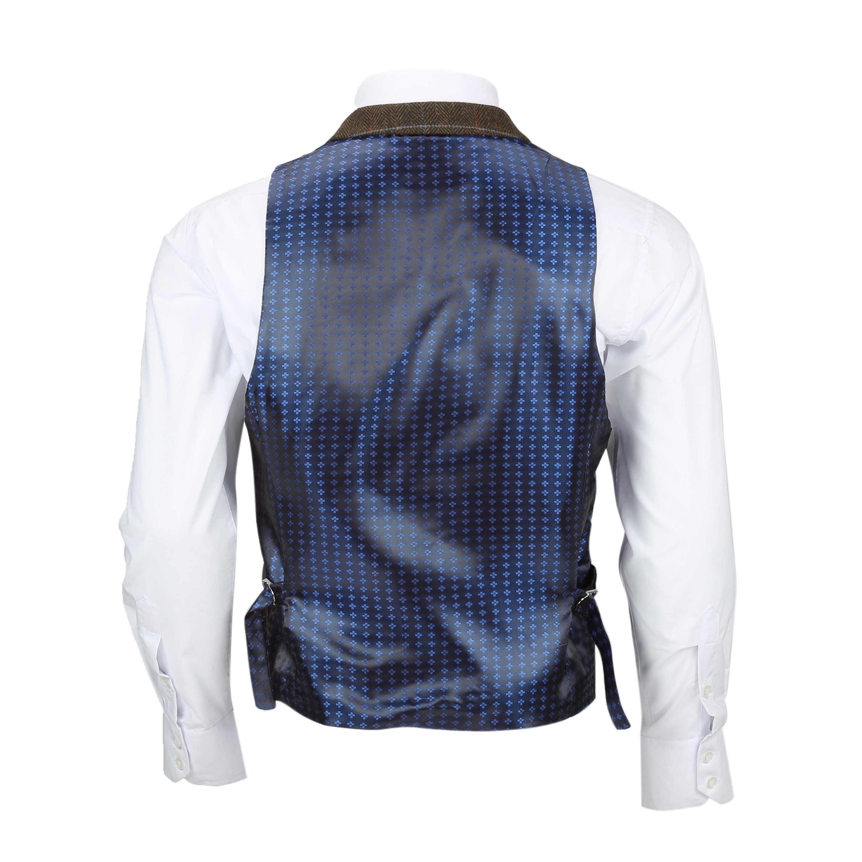 Chaleco-para-Hombre-Tweed-Cuadros-Retro-espiga-con-Cuello-Inteligente-Formal-ajustado-fitvest miniatura 9