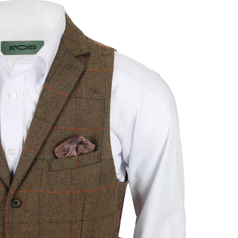 Chaleco-para-Hombre-Tweed-Cuadros-Retro-espiga-con-Cuello-Inteligente-Formal-ajustado-fitvest miniatura 12