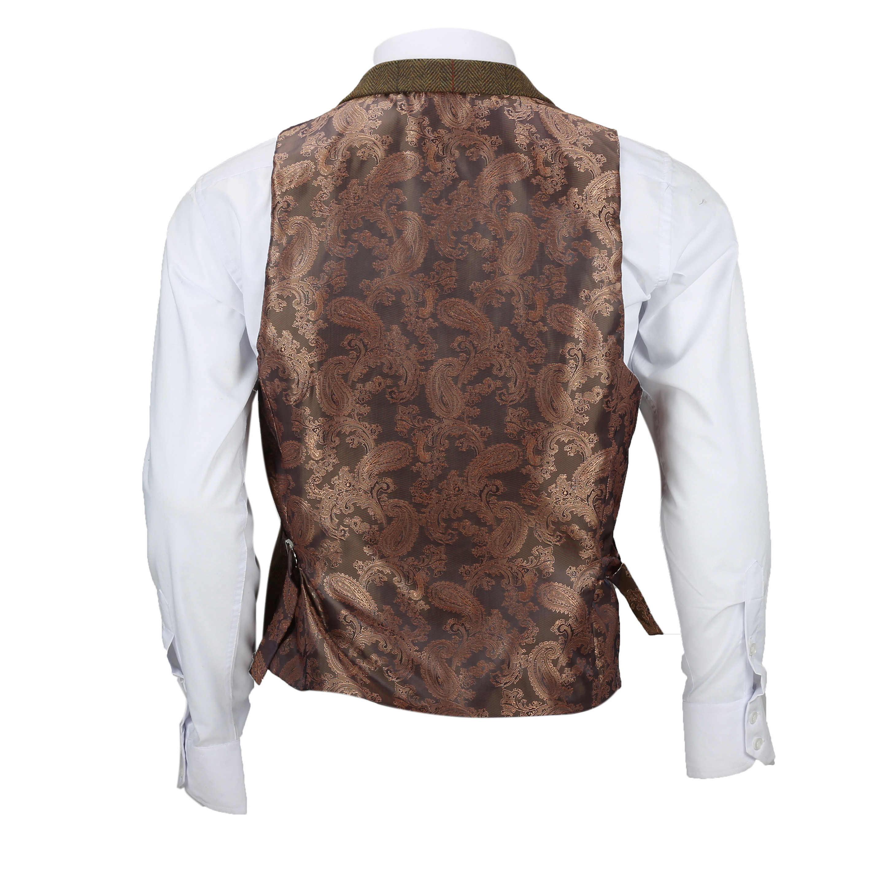 Chaleco-para-Hombre-Tweed-Cuadros-Retro-espiga-con-Cuello-Inteligente-Formal-ajustado-fitvest miniatura 13