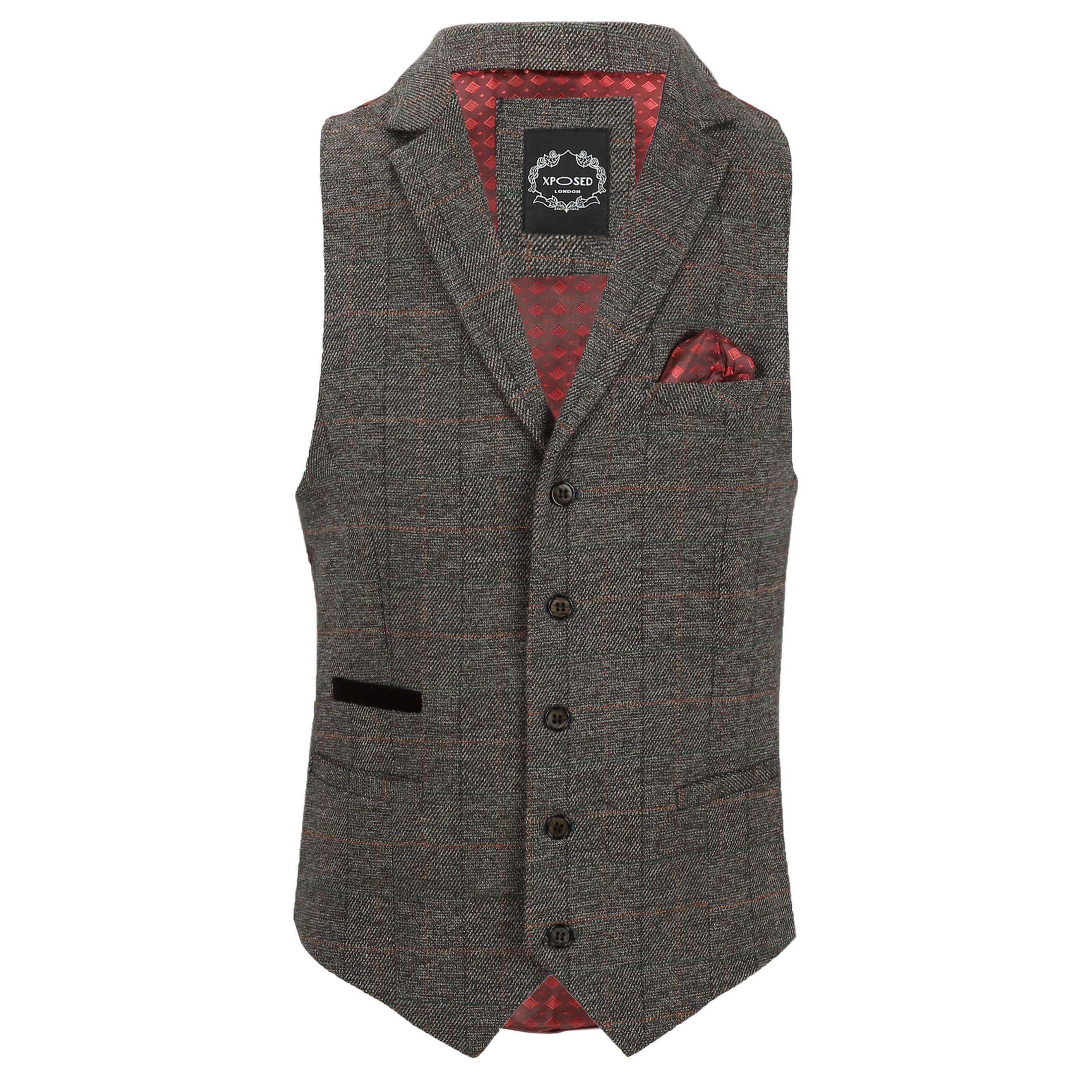 Chaleco-para-Hombre-Tweed-Cuadros-Retro-espiga-con-Cuello-Inteligente-Formal-ajustado-fitvest miniatura 3