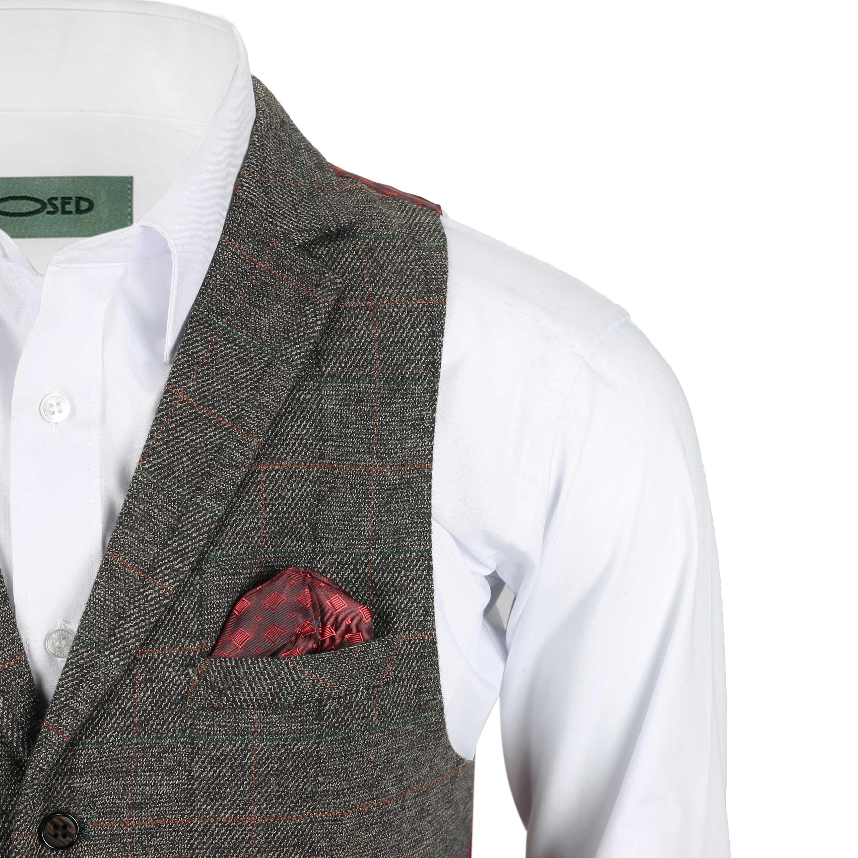 Chaleco-para-Hombre-Tweed-Cuadros-Retro-espiga-con-Cuello-Inteligente-Formal-ajustado-fitvest miniatura 4
