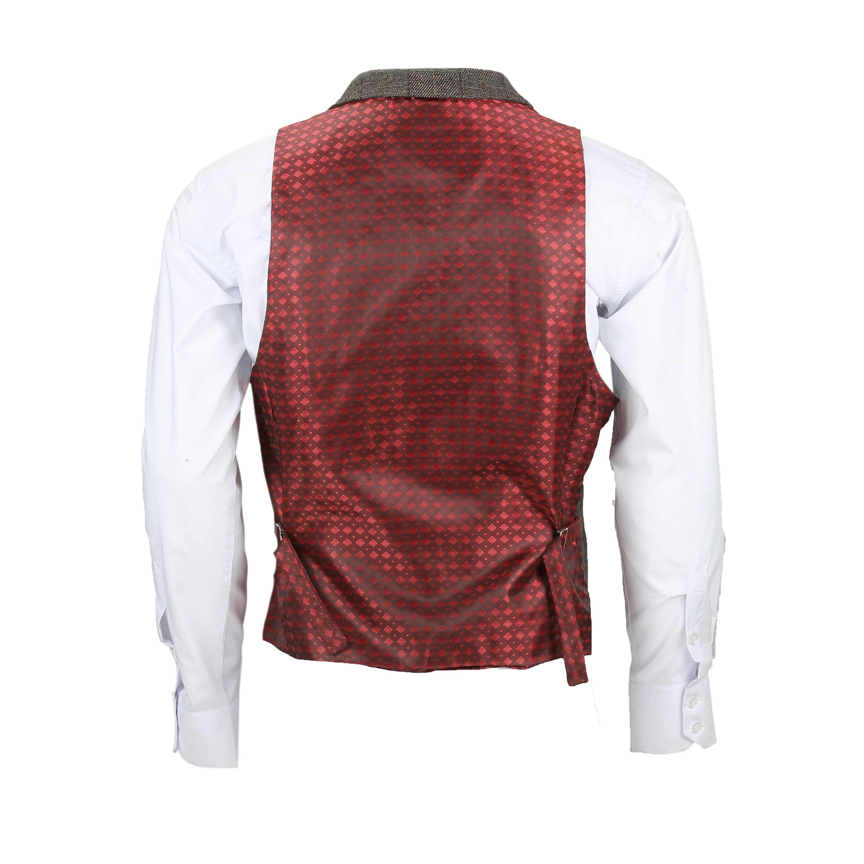 Chaleco-para-Hombre-Tweed-Cuadros-Retro-espiga-con-Cuello-Inteligente-Formal-ajustado-fitvest miniatura 5