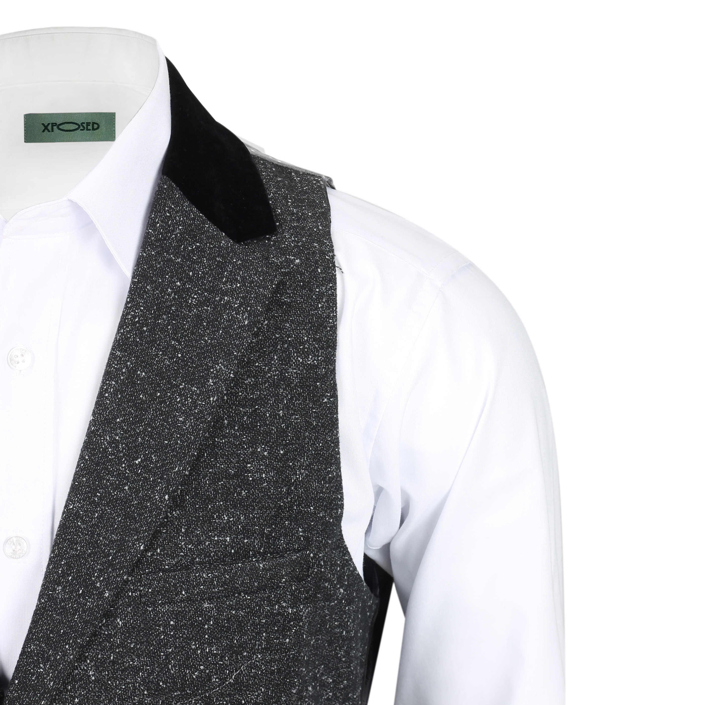 Para-hombre-Traje-de-3-piezas-de-lana-en-gris-se-vende-por-separado-Retro-Blazer-Chaleco-Pantalones miniatura 15