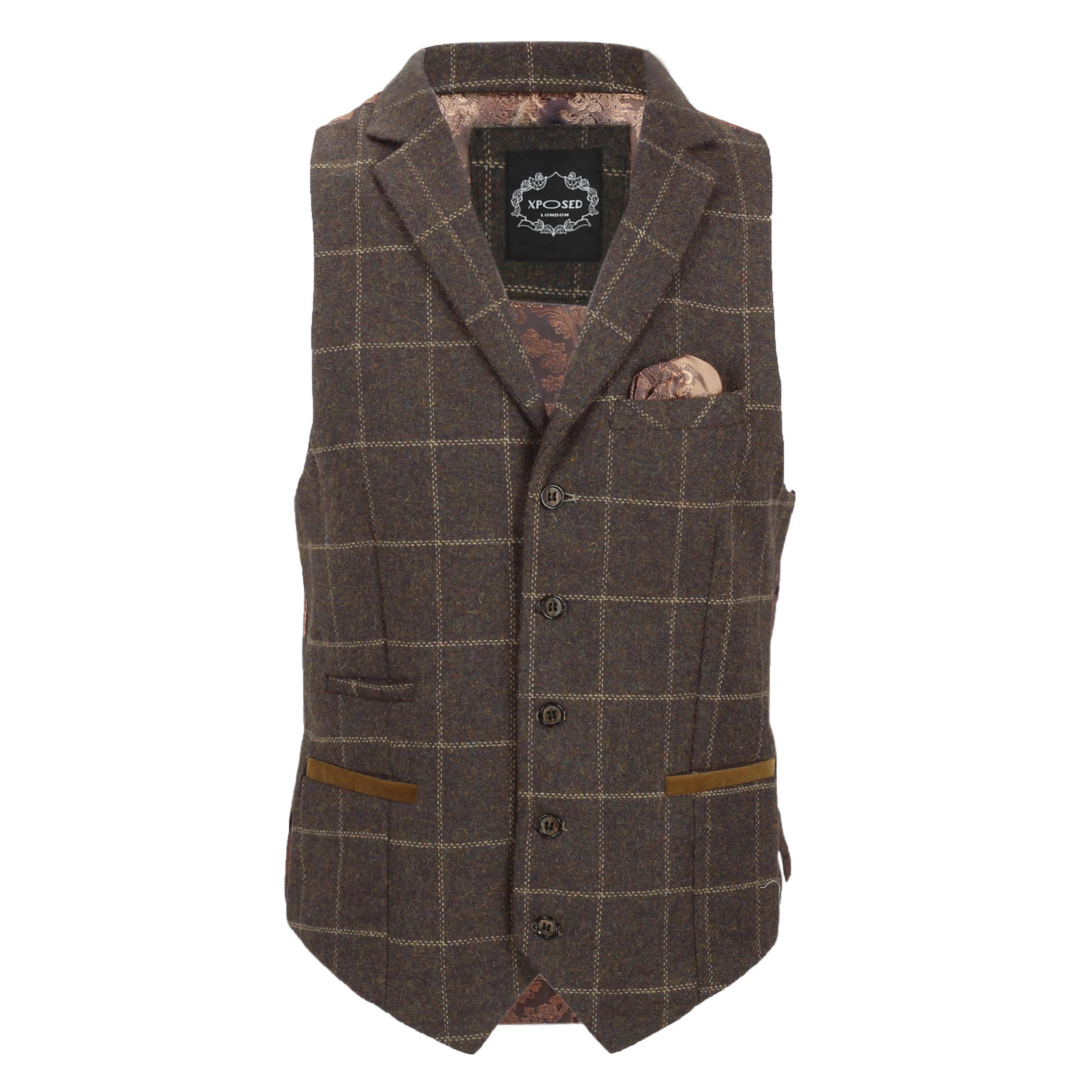 Mens-Tweed-Check-Waistcoat-Vintage-Herringbone-VelvetCollar-Lapel-Slim-Fit-Vest thumbnail 7