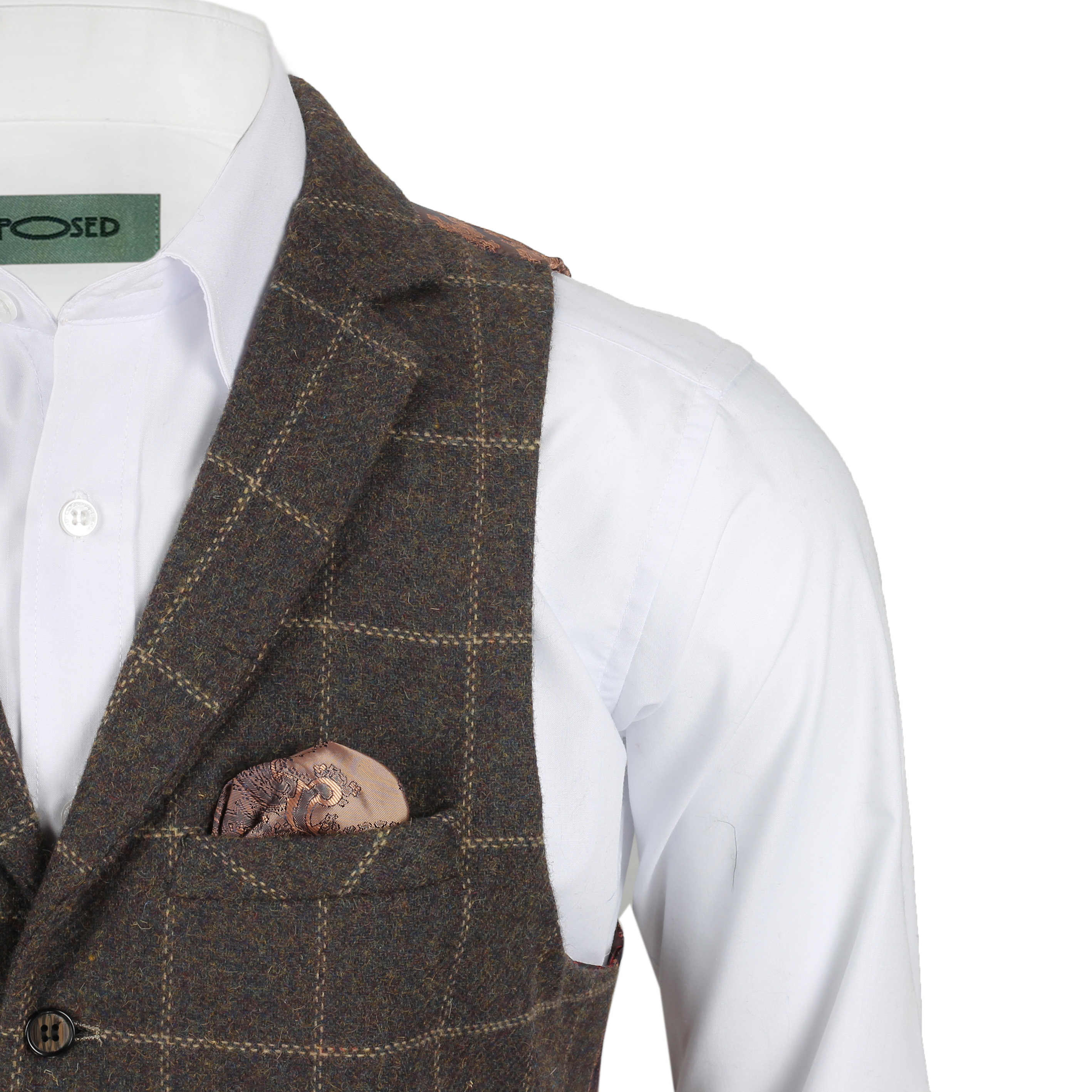 Mens-Tweed-Check-Waistcoat-Vintage-Herringbone-VelvetCollar-Lapel-Slim-Fit-Vest thumbnail 8