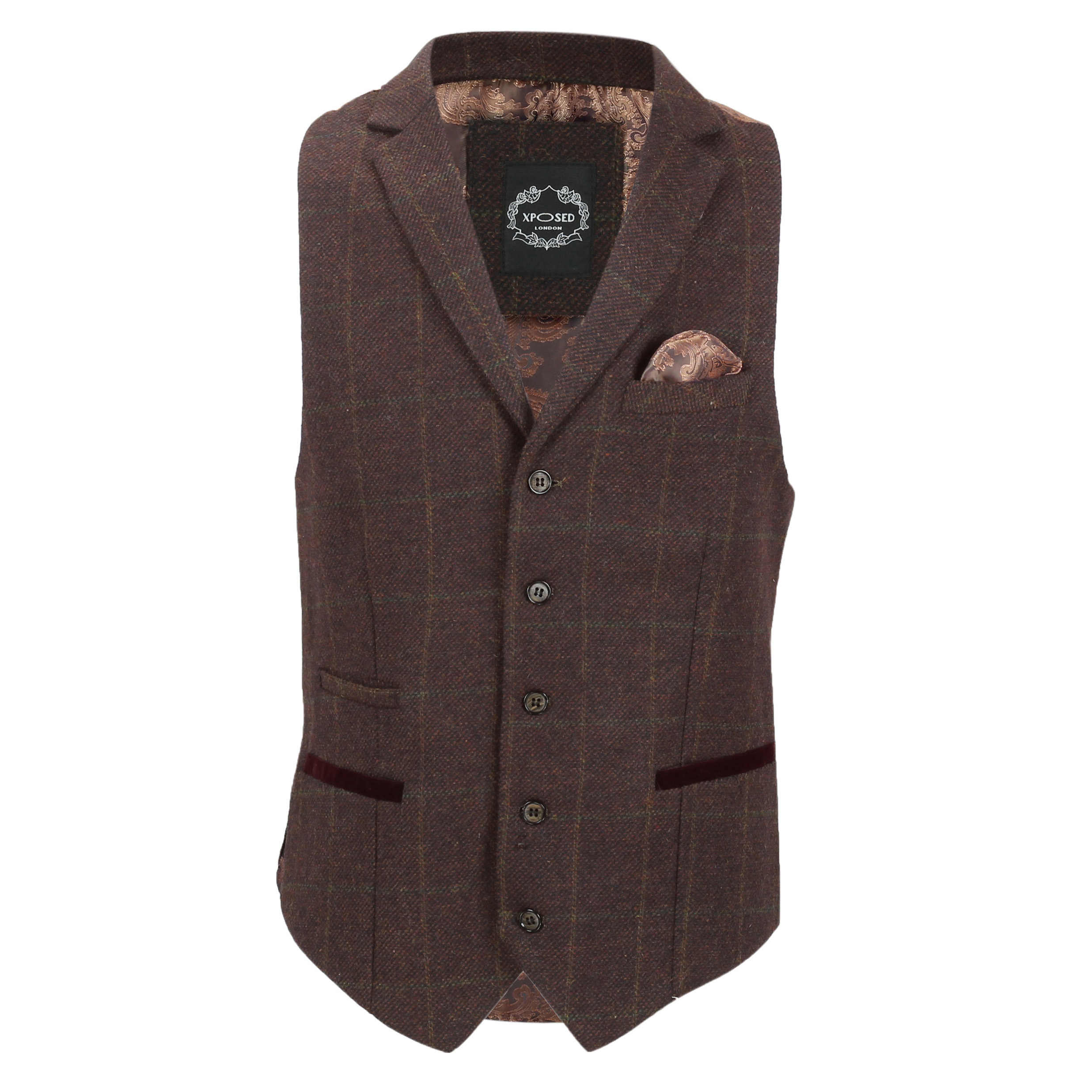 Mens-Tweed-Check-Waistcoat-Vintage-Herringbone-VelvetCollar-Lapel-Slim-Fit-Vest thumbnail 11
