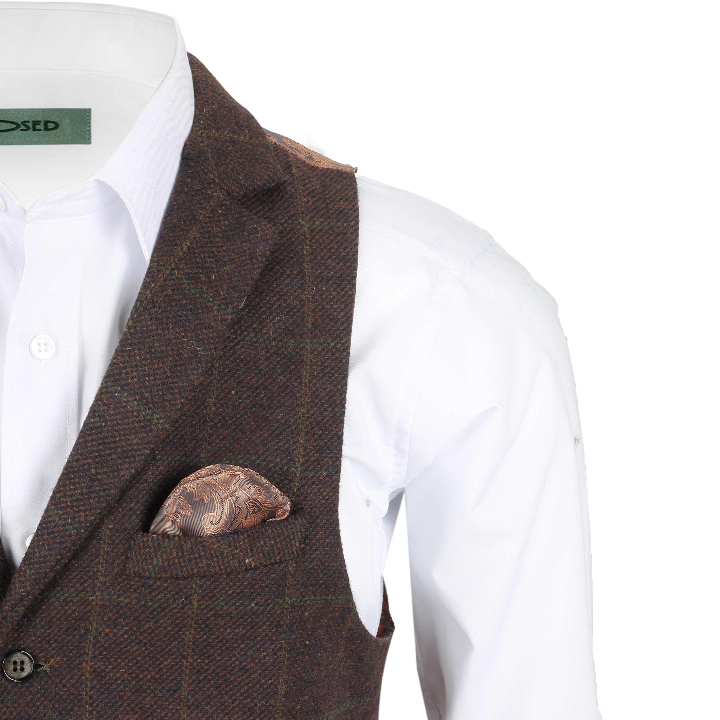 Mens-Tweed-Check-Waistcoat-Vintage-Herringbone-VelvetCollar-Lapel-Slim-Fit-Vest thumbnail 12