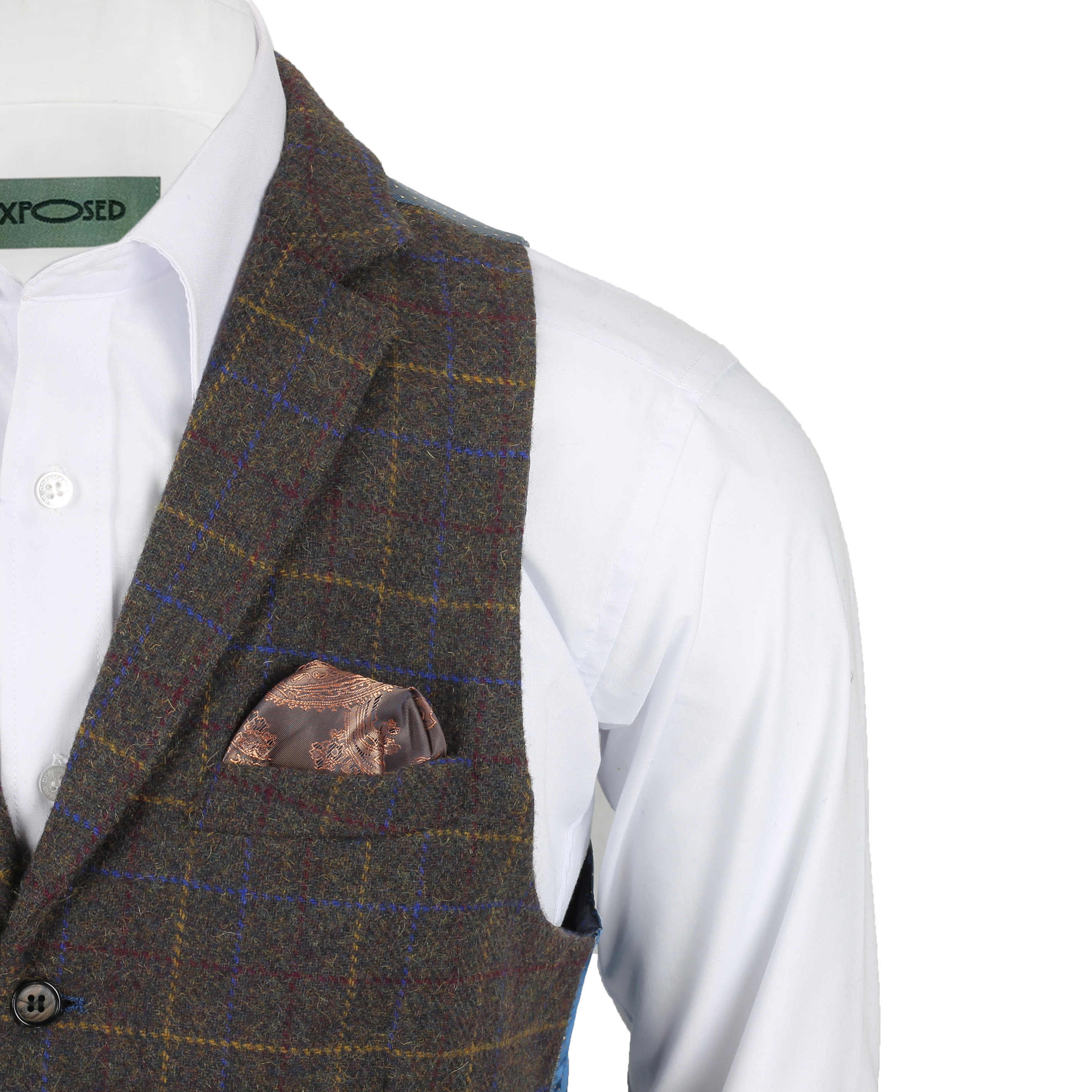 Mens-Tweed-Check-Waistcoat-Vintage-Herringbone-VelvetCollar-Lapel-Slim-Fit-Vest thumbnail 4