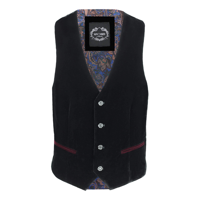 Para-hombre-negro-terciopelo-vintage-3-Piezas-Traje-Blazer-Chaleco-del-pantalon-se-vende-por miniatura 19