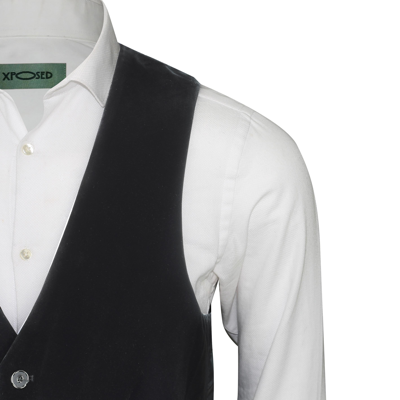 Para-hombre-negro-terciopelo-vintage-3-Piezas-Traje-Blazer-Chaleco-del-pantalon-se-vende-por miniatura 22