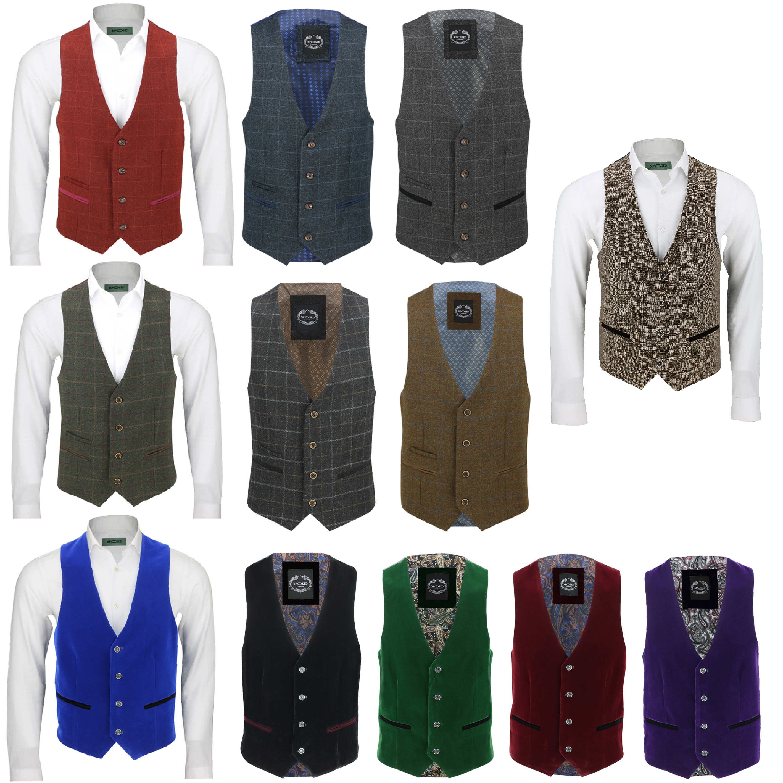 0692e261c6c Detalles acerca de Hombre Vintage Formal Tweed Espiga cheque Chaleco  Chaleco de terciopelo Smart Casual- mostrar título original