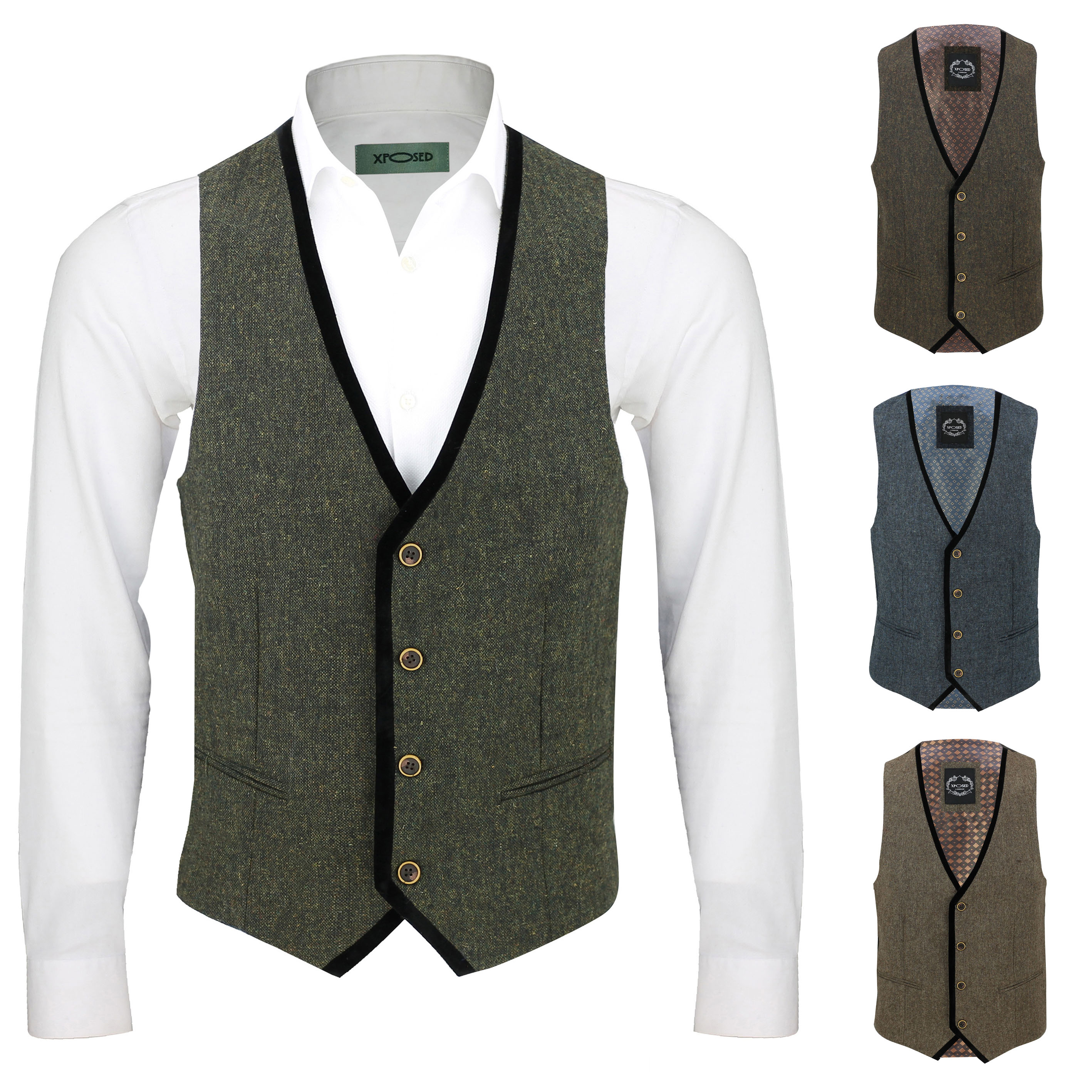 Mens 3-Button Herringbone Wool Tweed Slim Fit Vest Waistcoat Brown Burgundy Blue