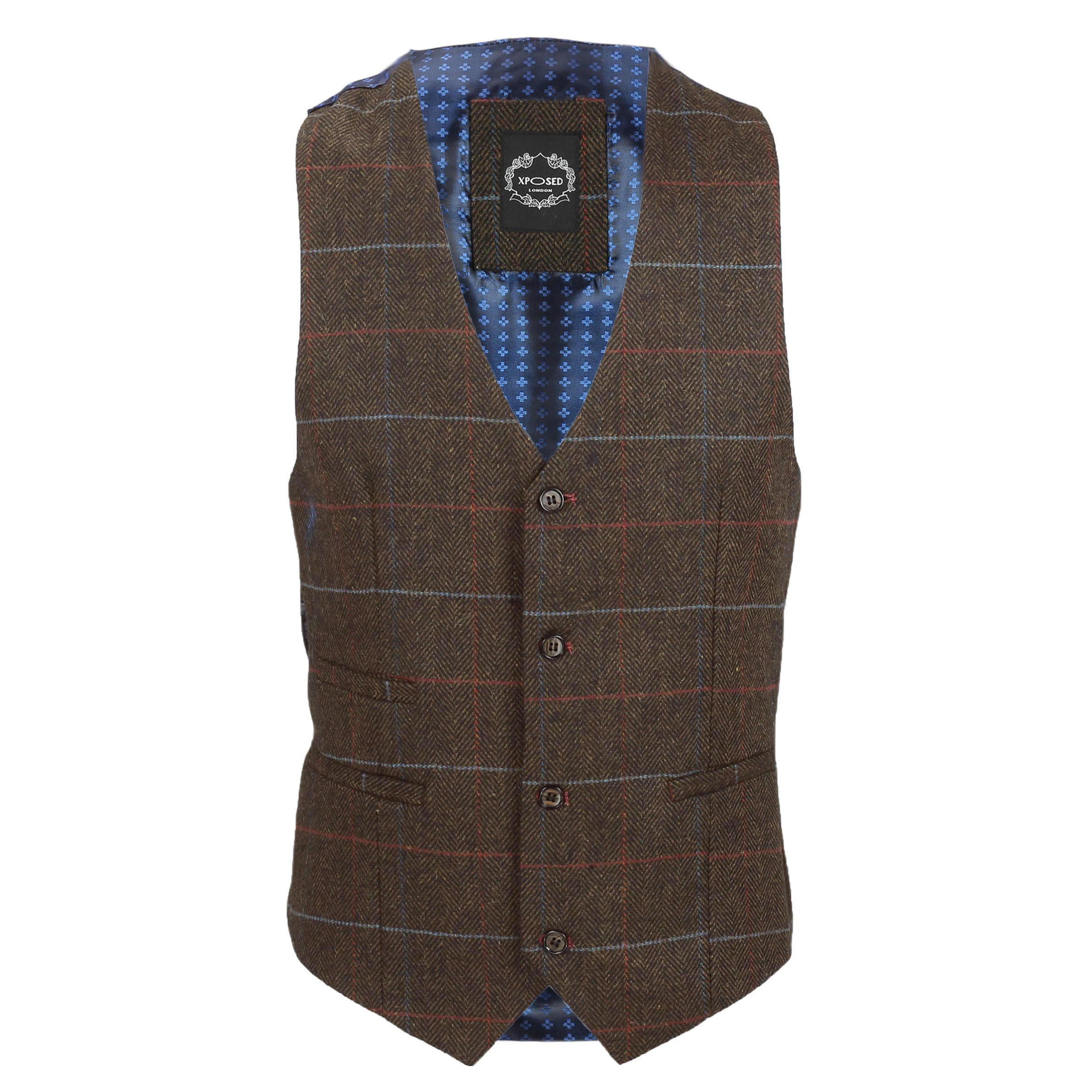 Nuevo-Chaleco-De-Hombre-Retro-Vintage-Marron-Tweed-Espiga-Roble-cheque-Smart-Casual miniatura 15