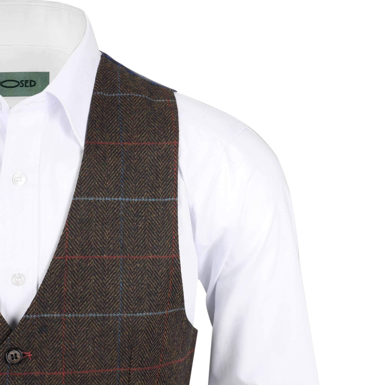 Nuevo-Chaleco-De-Hombre-Retro-Vintage-Marron-Tweed-Espiga-Roble-cheque-Smart-Casual miniatura 16