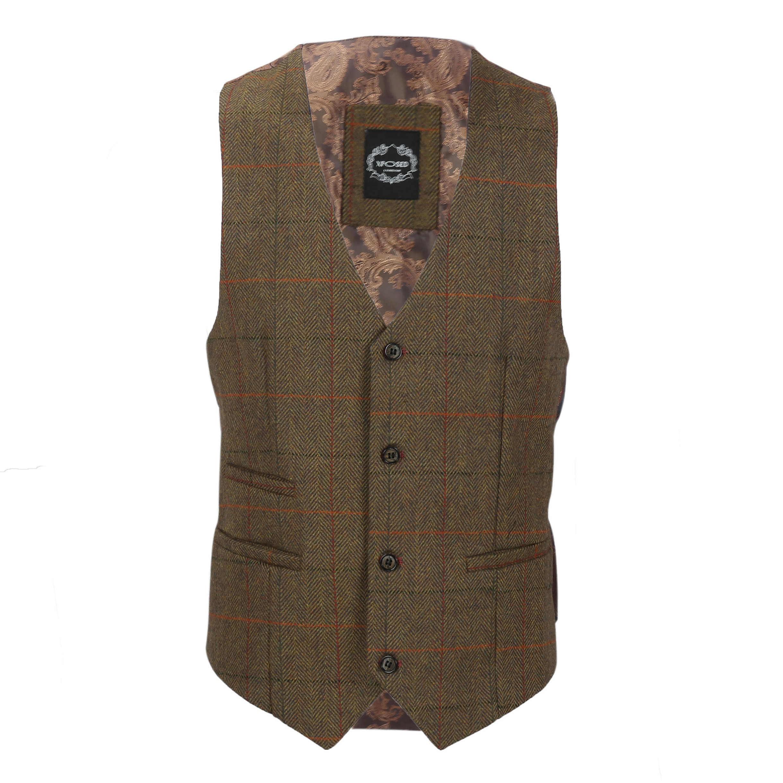 Nuevo-Chaleco-De-Hombre-Retro-Vintage-Marron-Tweed-Espiga-Roble-cheque-Smart-Casual miniatura 19