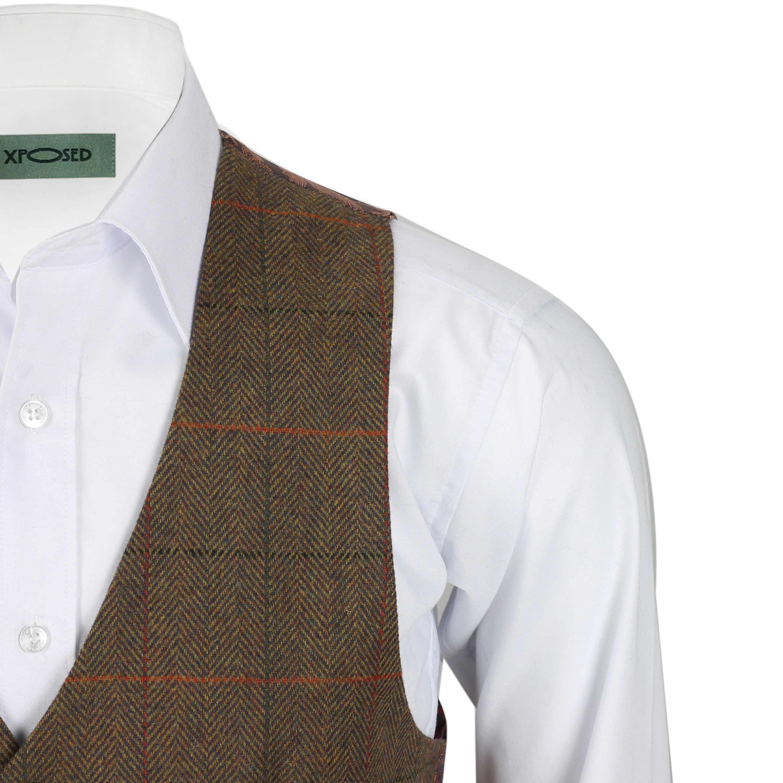 Nuevo-Chaleco-De-Hombre-Retro-Vintage-Marron-Tweed-Espiga-Roble-cheque-Smart-Casual miniatura 20