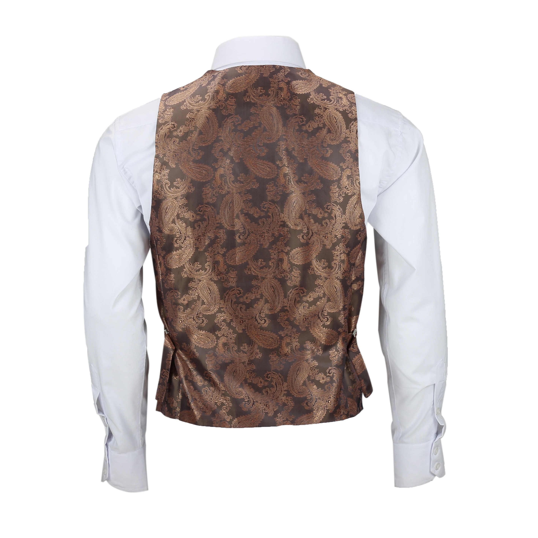 Nuevo-Chaleco-De-Hombre-Retro-Vintage-Marron-Tweed-Espiga-Roble-cheque-Smart-Casual miniatura 21