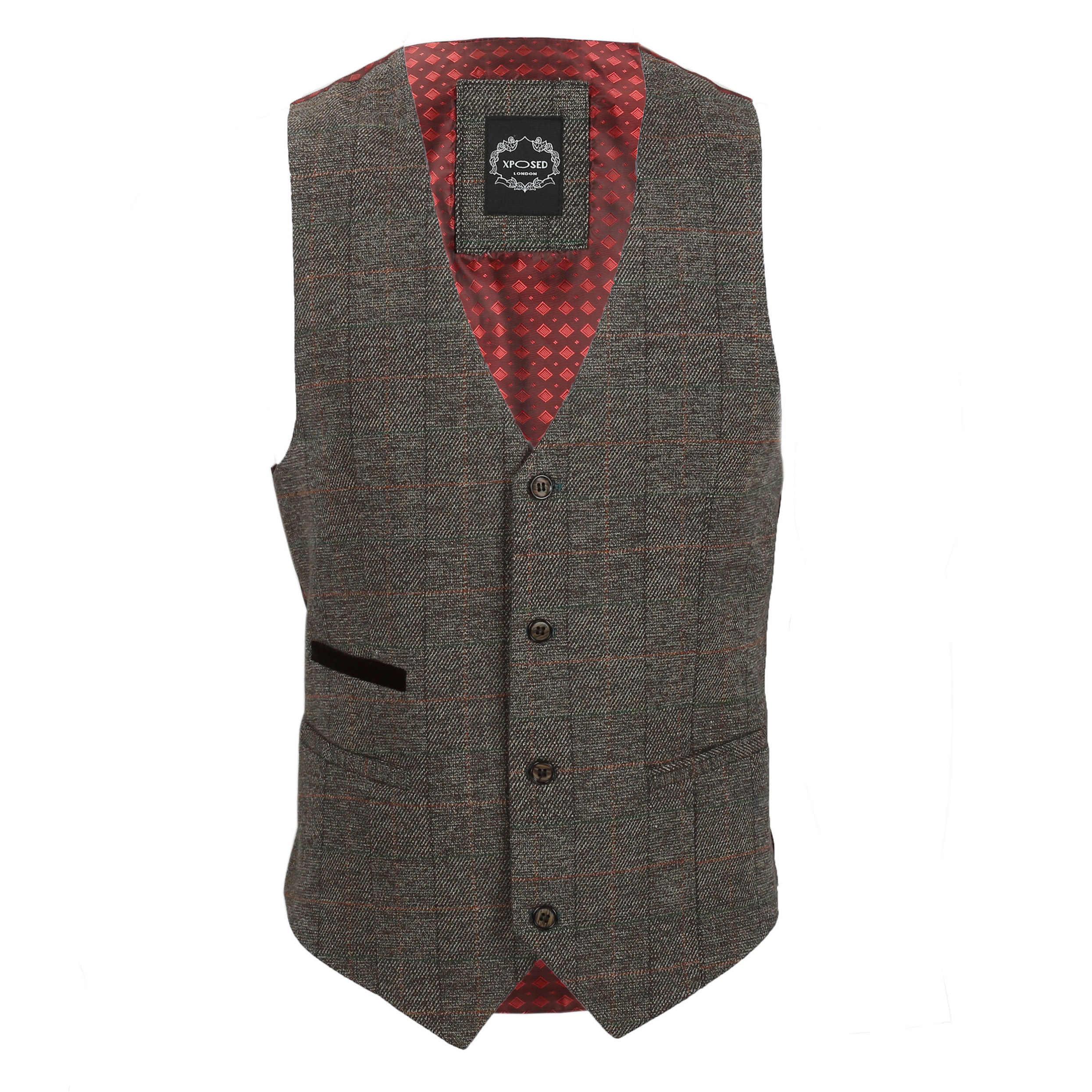 Nuevo-Chaleco-De-Hombre-Retro-Vintage-Marron-Tweed-Espiga-Roble-cheque-Smart-Casual miniatura 40