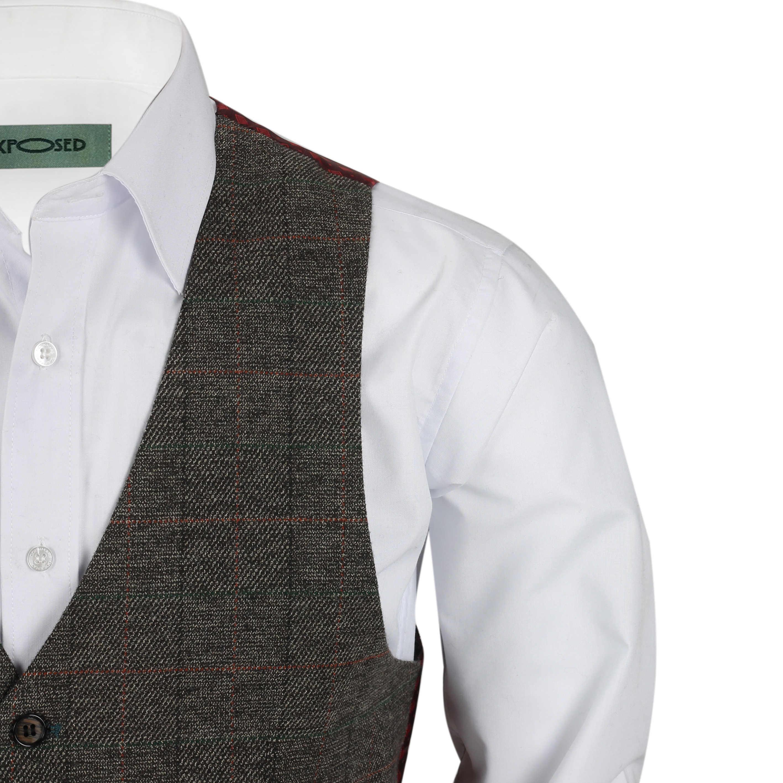 Nuevo-Chaleco-De-Hombre-Retro-Vintage-Marron-Tweed-Espiga-Roble-cheque-Smart-Casual miniatura 41