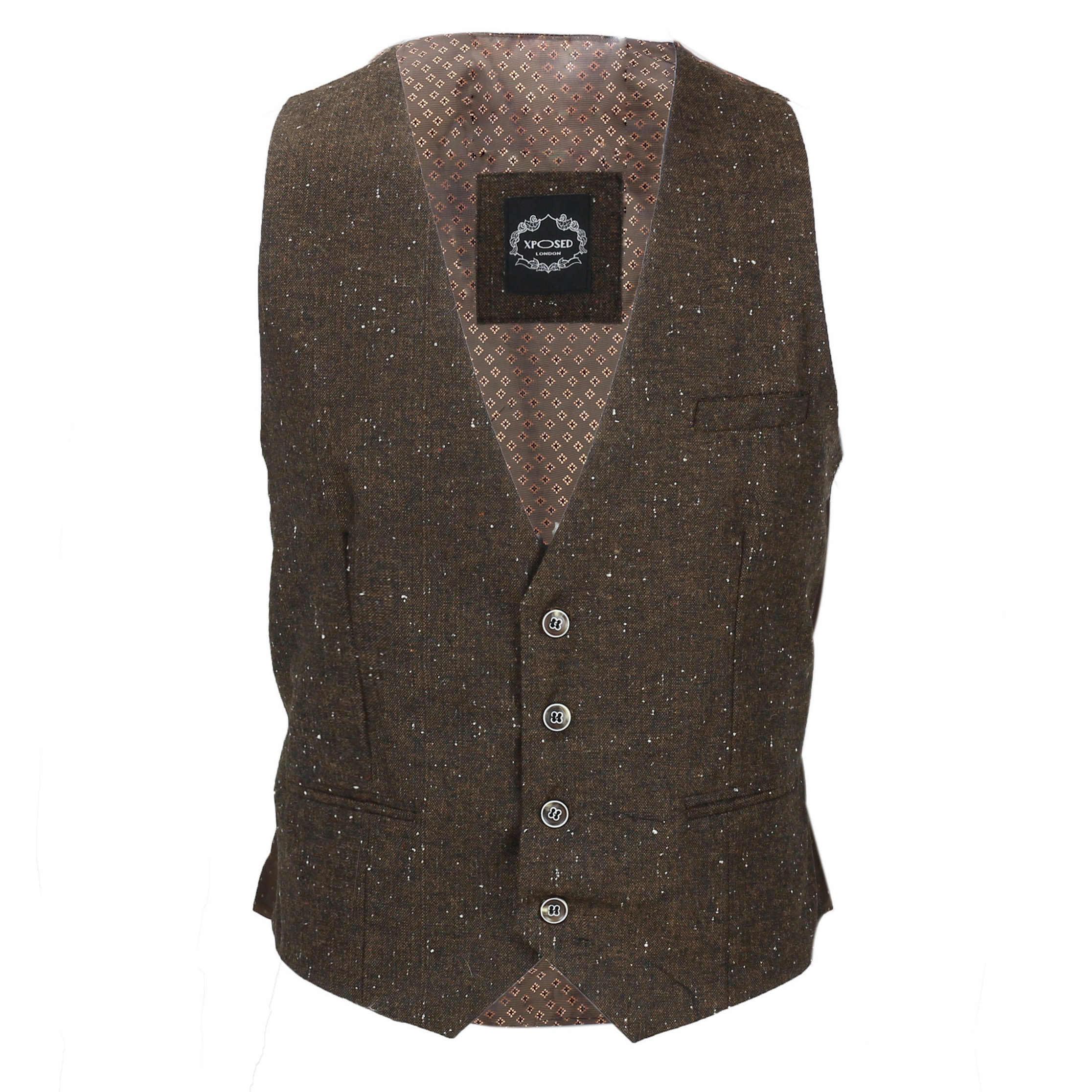 Nuevo-Chaleco-De-Hombre-Retro-Vintage-Marron-Tweed-Espiga-Roble-cheque-Smart-Casual miniatura 23
