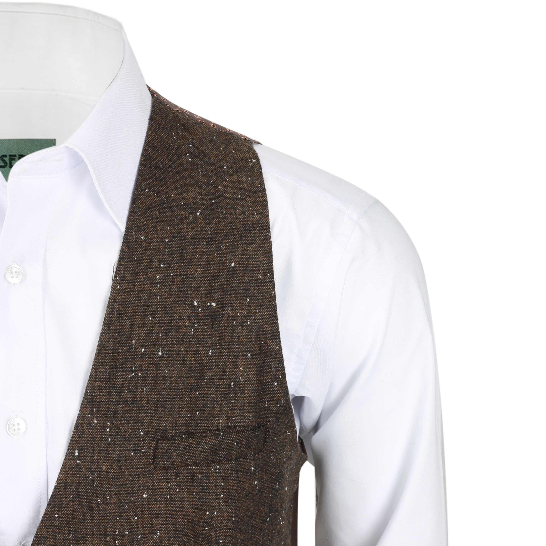 Nuevo-Chaleco-De-Hombre-Retro-Vintage-Marron-Tweed-Espiga-Roble-cheque-Smart-Casual miniatura 24