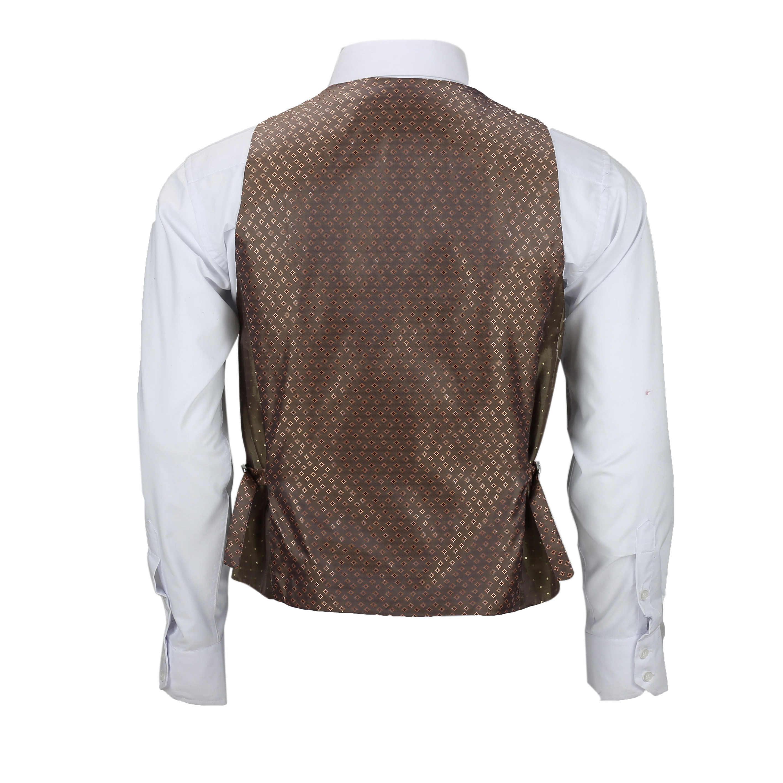 Nuevo-Chaleco-De-Hombre-Retro-Vintage-Marron-Tweed-Espiga-Roble-cheque-Smart-Casual miniatura 25