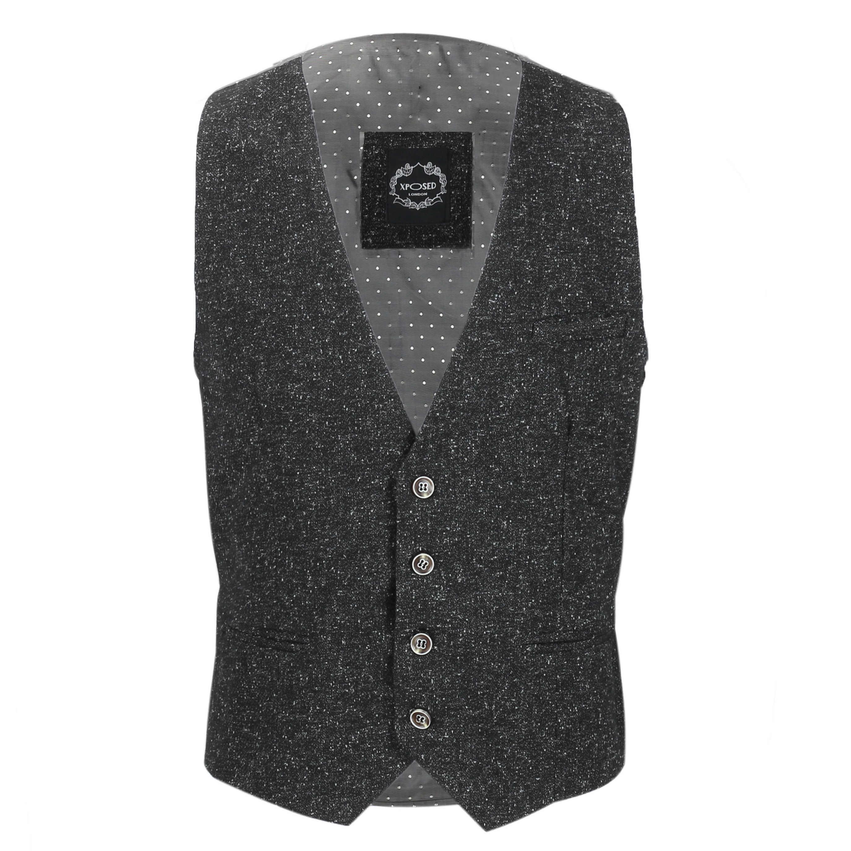 Nuevo-Chaleco-De-Hombre-Retro-Vintage-Marron-Tweed-Espiga-Roble-cheque-Smart-Casual miniatura 27