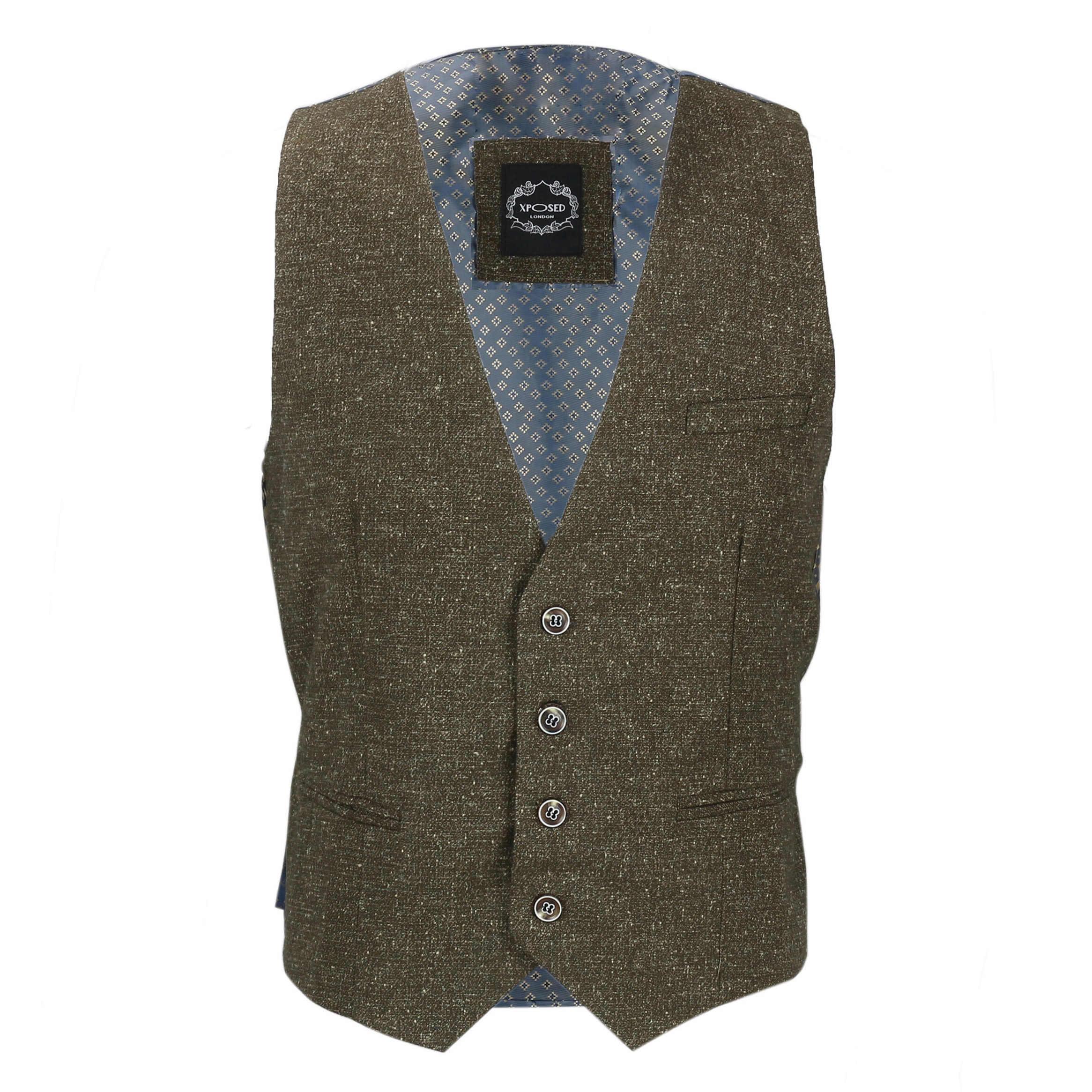 Nuevo-Chaleco-De-Hombre-Retro-Vintage-Marron-Tweed-Espiga-Roble-cheque-Smart-Casual miniatura 31