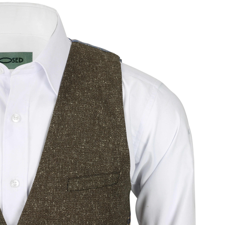 Nuevo-Chaleco-De-Hombre-Retro-Vintage-Marron-Tweed-Espiga-Roble-cheque-Smart-Casual miniatura 33