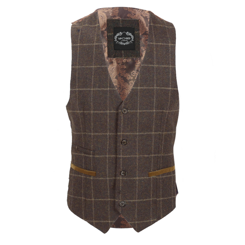 Para-Hombre-Tweed-Marron-Tierra-3-piezas-traje-de-verificacion-se-vende-por-separado-Blazer-Chaleco miniatura 19