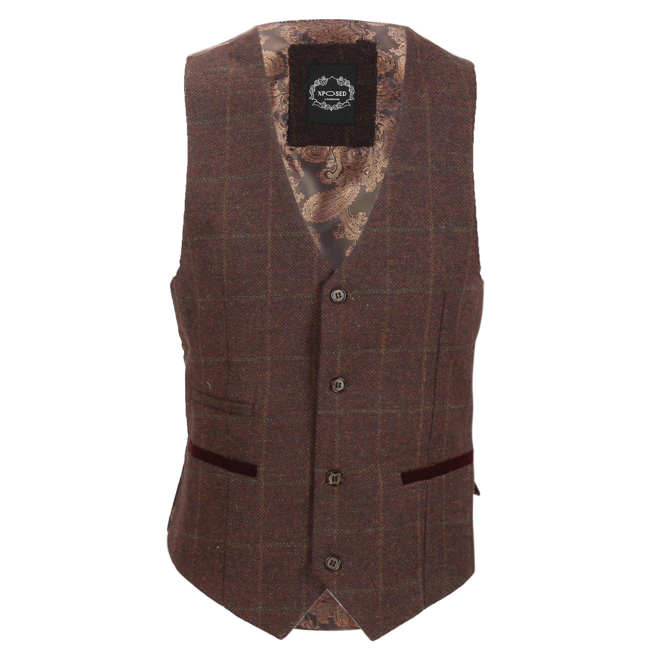 Nuevo-Chaleco-De-Hombre-Retro-Vintage-Marron-Tweed-Espiga-Roble-cheque-Smart-Casual miniatura 7