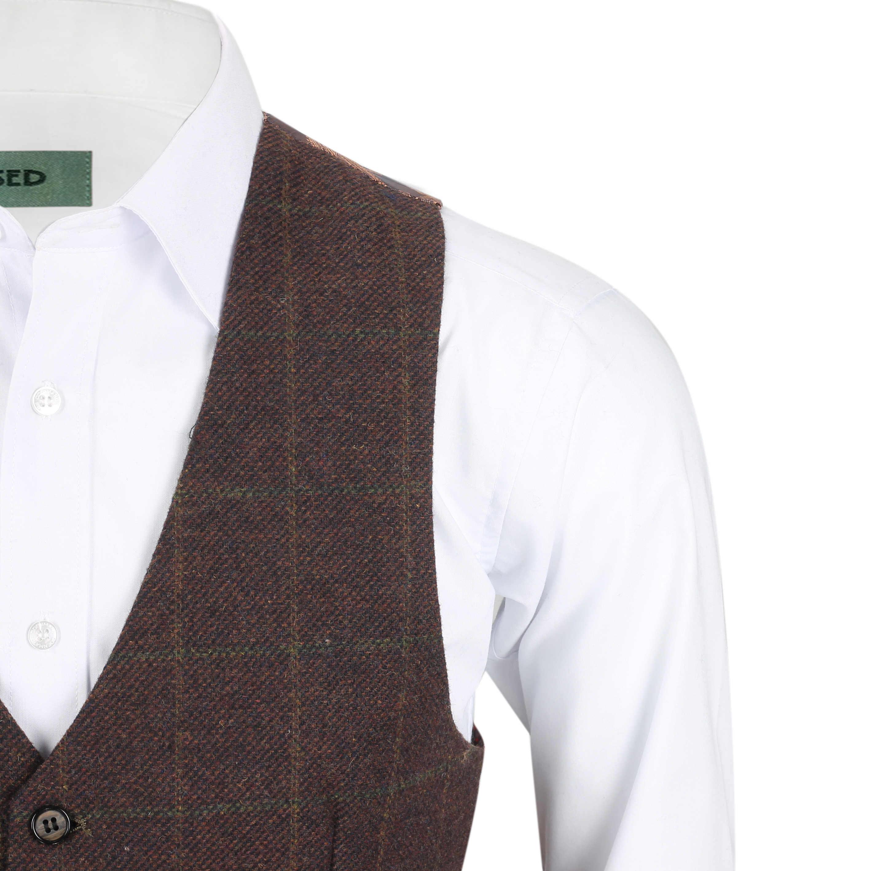 Nuevo-Chaleco-De-Hombre-Retro-Vintage-Marron-Tweed-Espiga-Roble-cheque-Smart-Casual miniatura 8