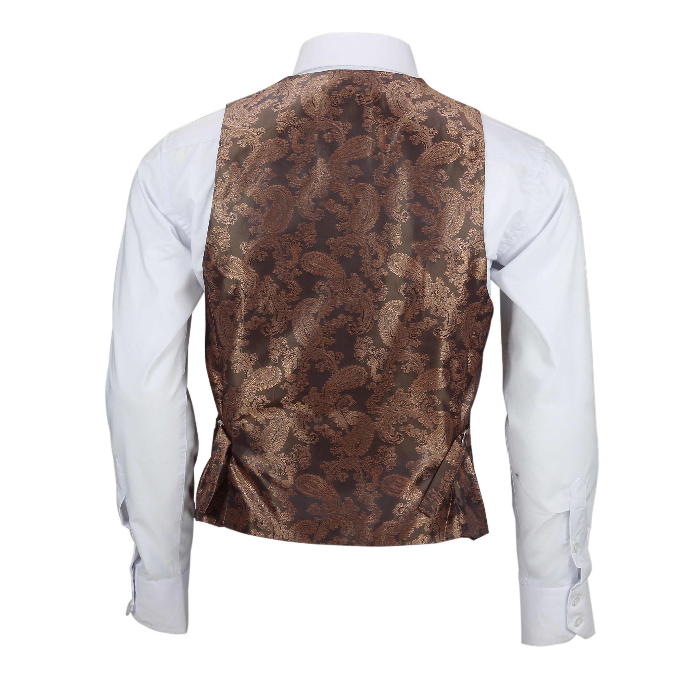 Nuevo-Chaleco-De-Hombre-Retro-Vintage-Marron-Tweed-Espiga-Roble-cheque-Smart-Casual miniatura 9