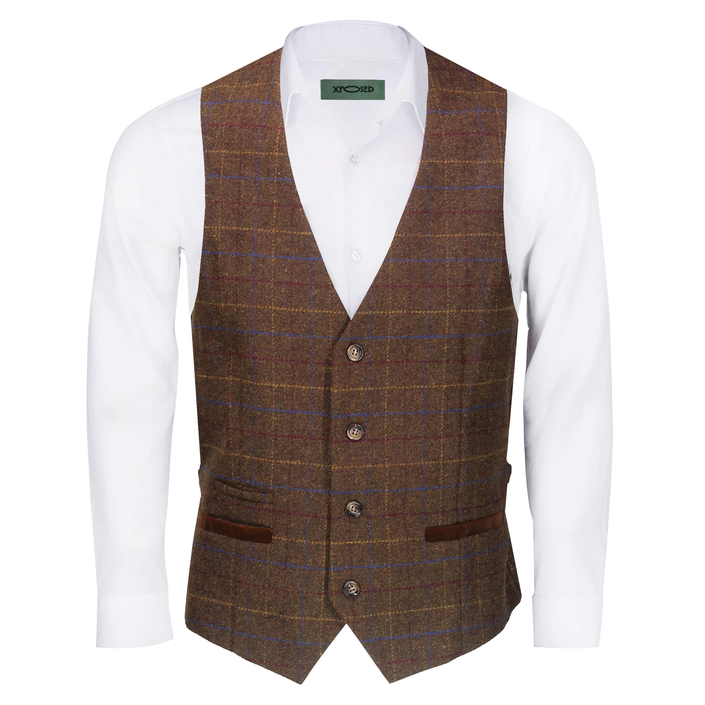 Nuevo-Chaleco-De-Hombre-Retro-Vintage-Marron-Tweed-Espiga-Roble-cheque-Smart-Casual miniatura 11