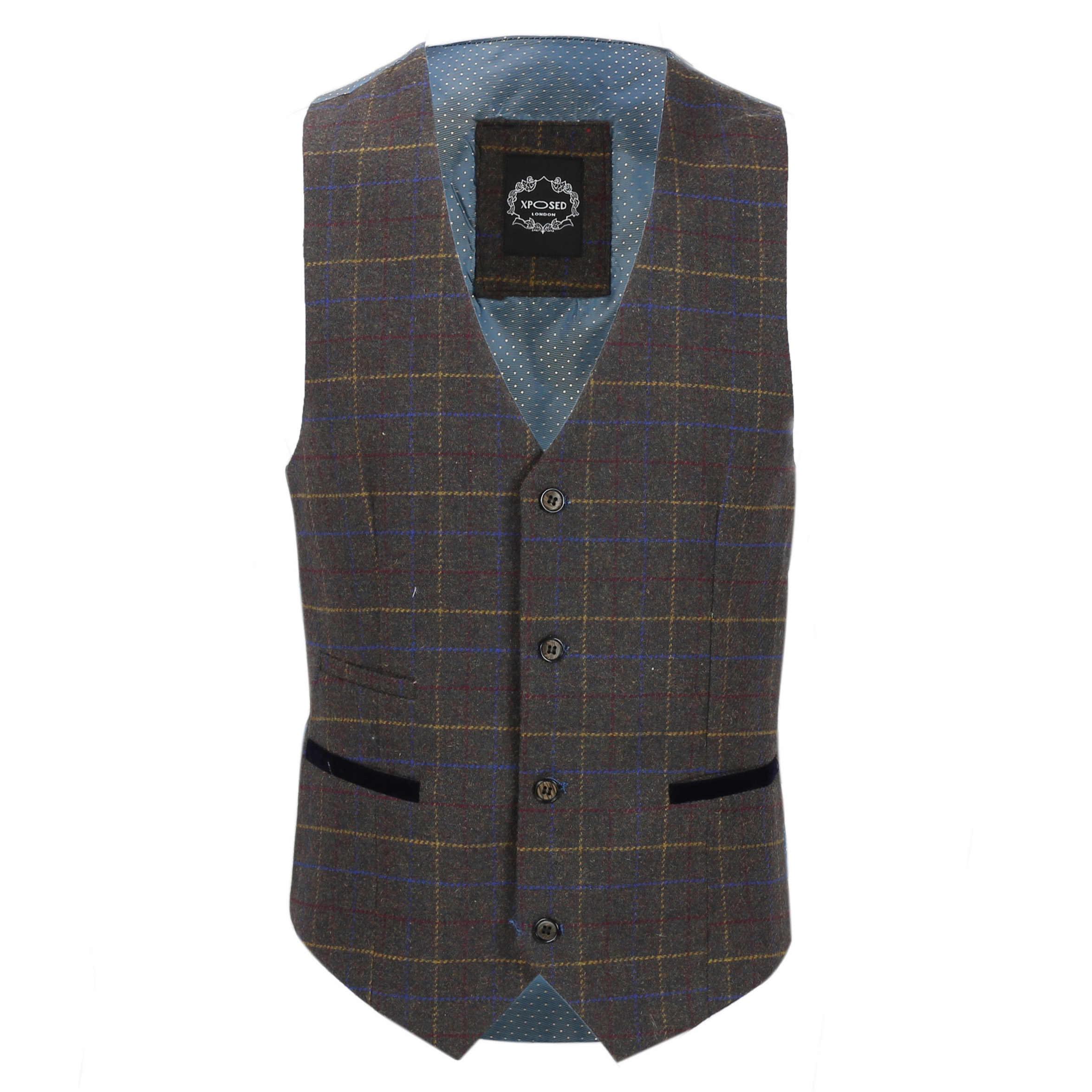 Nuevo-Chaleco-De-Hombre-Retro-Vintage-Marron-Tweed-Espiga-Roble-cheque-Smart-Casual miniatura 36