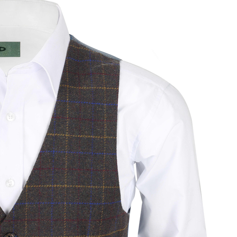 Nuevo-Chaleco-De-Hombre-Retro-Vintage-Marron-Tweed-Espiga-Roble-cheque-Smart-Casual miniatura 37