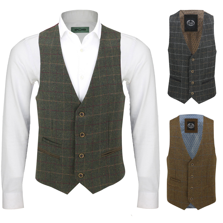 Grey Mens Herringbone Tweed Check Waistcoat Formal Business Slim Fit Casual Vest